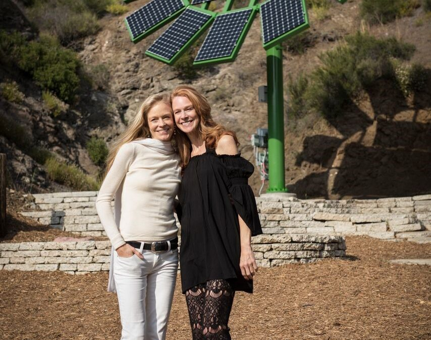 Suzy Amis Cameron with sister Rebecca Amis on MUSE School campus